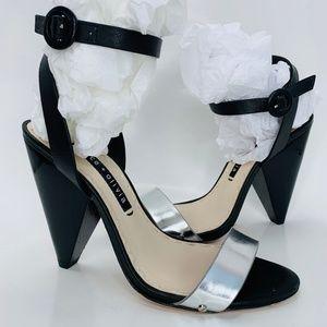 ALICE + OLIVIA Black & Silver Cone Heels 37.5